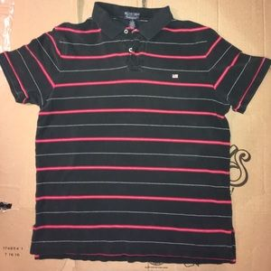 Polo Jeans Company Black and Red Stripe Polo
